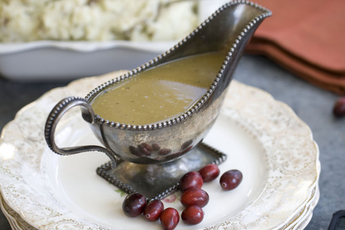 This Oct. 21, 2013 photo shows speedy gravy in Concord, N.H. From start to finish, the recipe estimates 20 minutes. (AP Photo/Matthew Mead)