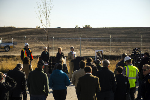 Chris Detrick  |  The Salt Lake Tribune Salt Lake City Mayor Ralph Becker speaks during a ground-breaking ceremony on a solar farm in Salt Lake City Tuesday November 26, 2013. On completion, the solar array will produce 1 megawatt of renewable energy from 3,000 panels covering roughly four acres. The project was financed as part of the publicly approved new Public Safety Building and will help that facility achieve a net zero energy rating.