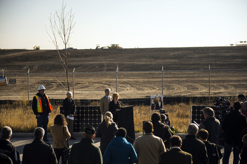 Chris Detrick  |  The Salt Lake Tribune  Councilwoman Jill Remington Love speaks during a ground-breaking ceremony on a solar farm in Salt Lake City Tuesday November 26, 2013. On completion, the solar array will produce 1 megawatt of renewable energy from 3,000 panels covering roughly four acres. The project was financed as part of the publicly approved new Public Safety Building and will help that facility achieve a net zero energy rating.