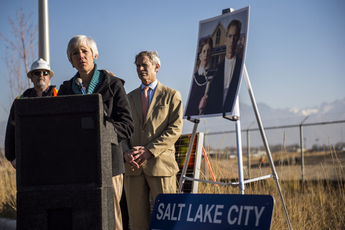 Chris Detrick  |  The Salt Lake Tribune Salt Lake City Sustainability Director Vicki Bennett speaks during a ground-breaking ceremony on a solar farm in Salt Lake City Tuesday November 26, 2013. On completion, the solar array will produce 1 megawatt of renewable energy from 3,000 panels covering roughly four acres. The project was financed as part of the publicly approved new Public Safety Building and will help that facility achieve a net zero energy rating.