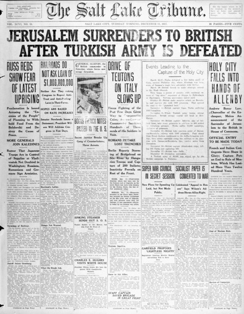 Photo courtesy of the Marriott Library The Dec. 12, 1917, front page of The Salt Lake Tribune.