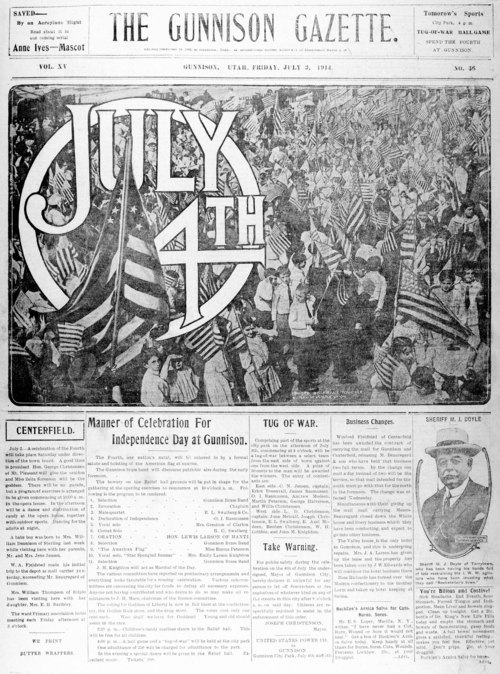 Photo courtesy of the Marriott Library The July 3, 1914, front page of the Gunnison Gazette.