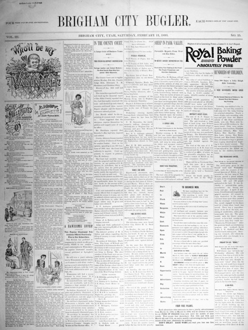 Photo courtesy of the Marriott Library The Feb. 11, 1893, front page of the Brigham City Bugler.