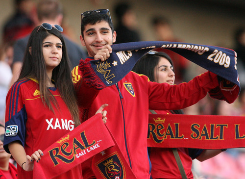 Leah Hogsten  |  The Salt Lake Tribune Fans show their support for Real Salt Lake. The 2013 Lamar Hunt U.S. Open Cup Final kicked off Tuesday when Real Salt Lake hosted D.C. United at Rio Tinto Stadium.
