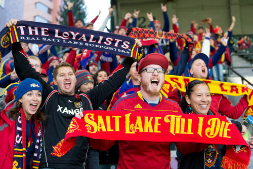 Trent Nelson  |  The Salt Lake Tribune Real Salt Lake fans await the entrance of their team as RSL faces the Portland Timbers, MLS soccer on Sunday in Portland.