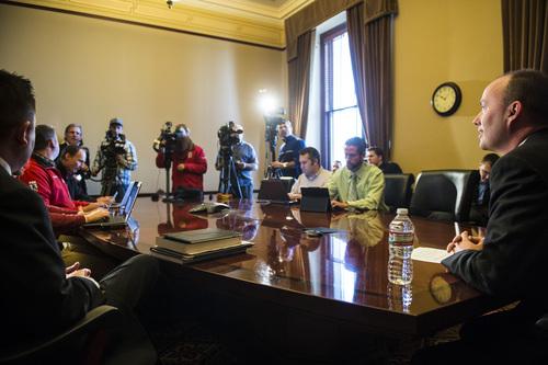 Chris Detrick  |  The Salt Lake Tribune Utah Lt. Gov. Spencer Cox speaks during a press conference at the Utah State Capitol Wednesday November 27, 2013.