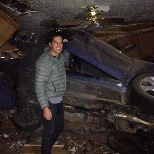 Josh Romney, son of former presidential candidate Mitt Romney, posted thisTwitter photo of himself at the scene of a Holladay accident on Thanksgiving night.