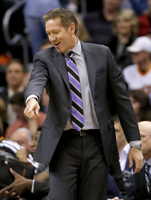 Phoenix Suns head coach Jeff Hornacek points out the sideline to the referee during the first half of an NBA basketball game against the Utah Jazz, Saturday, Nov. 30, 2013, in Phoenix. (AP Photo/Matt York)