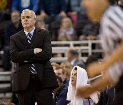 Lennie Mahler  |  The Salt Lake Tribune BYU head coach Dave Rose watches the team on offense against Utah State at EnergySolutions Arena in Salt Lake City, Saturday, Nov. 30, 2013.