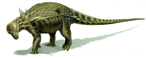 Courtesy of James Kirkland A rendering of nodosaur Europelta, recently unearthed at a Spanish coal mine, illustrated by Lukas Panzarin.
