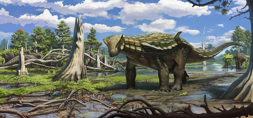 Courtesy of James Kirkland A rendering of nodosaur Europelta, recently unearthed at a Spanish coal mine, illustrated by Andrey Atuchin.