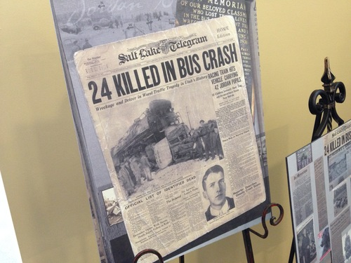 Francisco Kjolseth  |  The Salt Lake Tribune  South Jordan unveiled a memorial Monday at the South Jordan Community Center/Heritage Park commemorating the 75th anniversary of a train/school bus collision that killed 23 Jordan High School students and the driver of the bus.