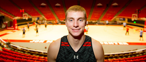 Trent Nelson  |  The Salt Lake Tribune Parker Van Dyke delayed his LDS mission to put on a Utah basketball uniform this season. He's now a big part of Larry Krystkowiak's rotation and is expected to make a big contribution this season. Tuesday November 26, 2013 in Salt Lake City.