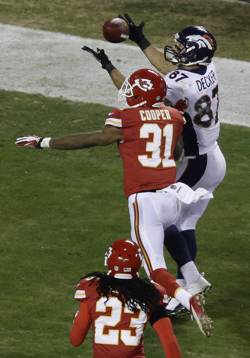 Denver Broncos wide receiver Eric Decker (87) makes a touchdown reception against Kansas City Chiefs cornerback Marcus Cooper (31) during the second half of an NFL football game, Sunday, Dec. 1, 2013, in Kansas City, Mo. (AP Photo/Charlie Riedel)