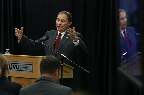 Scott Sommerdorf   |  The Salt Lake Tribune Utah Governor Gary Herbert releases his fiscal year 2014 budget recommendations at Utah Valley University, Wednesday December 4, 2013.
