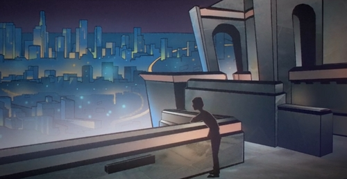 Screen capture from a new Killers music video, animated by BYU students.