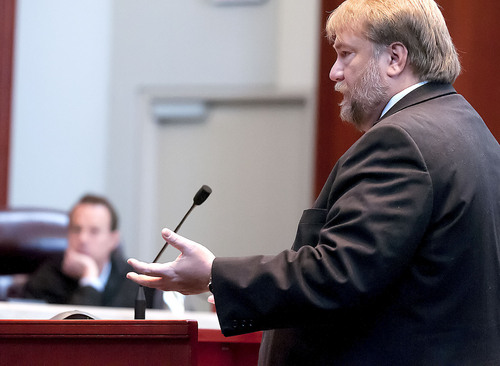 Craig T. Peterson presents oral arguments in the State v. Cody Nielsen, at the Utah Supreme Court, Thursday in Salt Lake City. Nielsen is serving a life sentence for murdering Trisha Autry and is appealing the conviction. (Eli Lucero/Herald Journal)