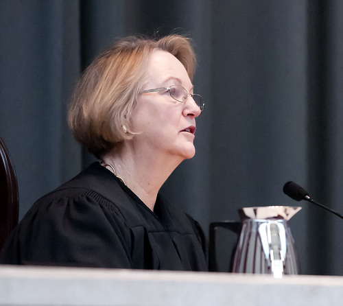 Justice Christine Durham asks a question during oral arguments in the State v. Cody Nielsen, at the Utah Supreme Court, Thursday in Salt Lake City. Nielsen is serving a life sentence for murdering Trisha Autry and is appealing the conviction. (Eli Lucero/Herald Journal)