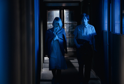 """Mia Wasikowska (left) and Jesse Eisenberg star in """"The Double,"""" a comedy playing in the Spotlight program of the 2014 Sundance Film Festival. Courtesy Sundance Institute"""