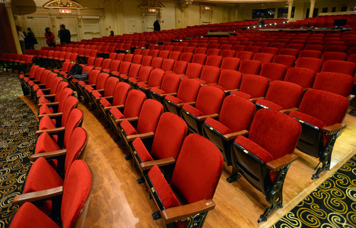 Steve Griffin  |  The Salt Lake Tribune   Newly reupholstered theatre seats are on display during the grand reopening ceremony for the Capitol Theatre in Salt Lake City, Utah Wednesday, December 4, 2013.