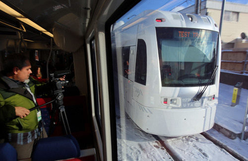 Francisco Kjolseth  |  The Salt Lake Tribune UTA has a media preview ride-along on the new Sugar House Streetcar on Wednesday, Dec. 4, 2013. Opening ceremonies are scheduled for Thursday and it opens to the public Saturday.