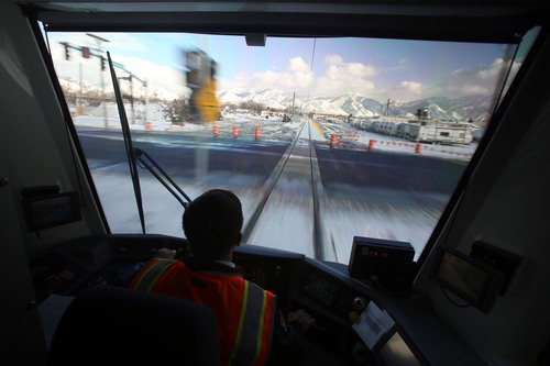 Francisco Kjolseth  |  The Salt Lake Tribune The general public will soon have a new view as train operator Mark Lococo heads toward Sugar House while UTA has a media preview ride-along on the new Sugar House Streetcar on Wednesday, Dec. 4, 2013. Opening ceremonies are scheduled for Thursday and it opens to the public Saturday.