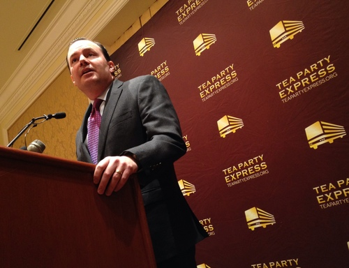 Francisco Kjolseth | The Salt Lake Tribune  Mike Lee speaks at a Tea Party Express event Wednesday at the Grand America Hotel in Salt Lake City.