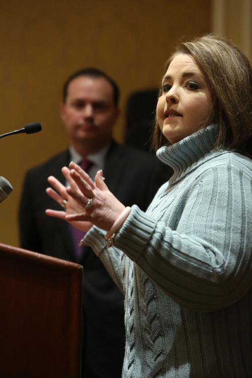 Francisco Kjolseth  |  The Salt Lake Tribune Chairman Amy Kremer of the Tea Party Express comes to Utah to endorse Sen. Mike Lee for 2016 and express support for his efforts to transform the country during a press conference at the Grand America Hotel on Wednesday, Dec. 4, 2013.