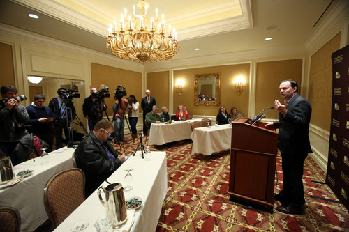 Francisco Kjolseth  |  The Salt Lake Tribune Sen. Mike Lee takes a few questions as the Tea Party Express comes to Utah to endorse for 2016 and express support for his efforts to transform the country during a press conference at the Grand America Hotel on Wednesday, Dec. 4, 2013.