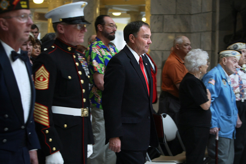 Scott Sommerdorf   |  The Salt Lake Tribune Utah Governor Gary herbert arrives at the ceremony in the Utah capitol rotunda. The Great Salt Lake Division of the Naval Sea Cadet Corps was recommissioned as the NSCC Battleship Utah (BB-31), allowing a closer tie to the Navy and the State of Utah and to honor the USS Utah as well as her crew members who served and went down with her, Saturday December 7, 2013.