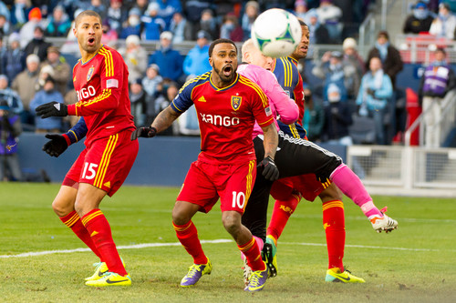 Trent Nelson  |  The Salt Lake Tribune RSL's Alvaro Saborio, Robbie Findley (10), Chris Schuler (28) and Sporting KC's Jimmy Nielsen (1) watch a near miss by Saborio as Real Salt Lake faces Sporting KC in the MLS Cup Final at Sporting Park in Kansas City, Saturday December 7, 2013.