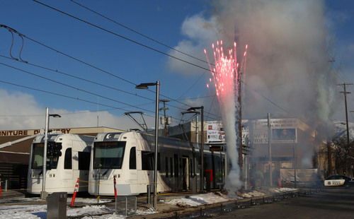 Francisco Kjolseth  |  The Salt Lake Tribune The new Streetcar is celebrated in Sugar House with much fanfare and fireworks following grand opening ceremonies on Thursday, Dec. 5, 2013. The new S Line opens to the public on Saturday.
