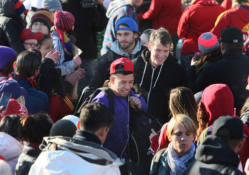 Scott Sommerdorf      The Salt Lake Tribune RSL fans crowd around Sebastian Velasquez as he and other Real Salt Lake players and coaches arrive in Salt Lake City on Sunday following their MLS Cup shootout loss Saturday in Kansas City, Kan.
