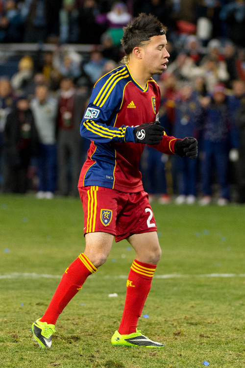 Trent Nelson  |  The Salt Lake Tribune Real Salt Lake's Sebastian Velasquez (26) reacts to missing a shot during the shootout as Real Salt Lake faces Sporting KC in the MLS Cup Final at Sporting Park in Kansas City, Saturday December 7, 2013.