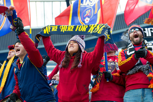 Trent Nelson  |  The Salt Lake Tribune RSL fans cheer as Real Salt Lake faces Sporting KC in the MLS Cup Final at Sporting Park in Kansas City, Saturday December 7, 2013.