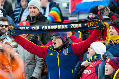 Trent Nelson  |  The Salt Lake Tribune RSL fans as Real Salt Lake faces Sporting KC in the MLS Cup Final at Sporting Park in Kansas City, Saturday December 7, 2013.