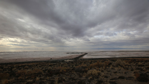 Francisco Kjolseth  |  The Salt Lake Tribune The Spiral Jetty earth works on the North edge of the Great Salt Lake created by artist Robert Smithson in 1970 is visible on Wednesday, Nov. 20, 2013. The 1,500 ft long spiral that is 15 ft wide has been below water many times since its creation in an ever changing landscape.