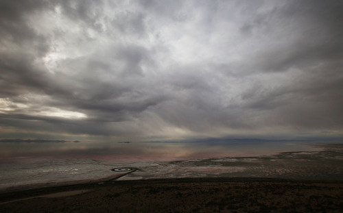 Francisco Kjolseth  |  The Salt Lake Tribune The Spiral Jetty earth works on the North edge of the Great Salt Lake created by artist Robert Smithson in 1970 is visible on Wednesday, Nov. 20, 2013 as seen from Rozel Point. The 1,500 ft long spiral that is 15 ft wide has been below water many times since its creation in an ever changing landscape.