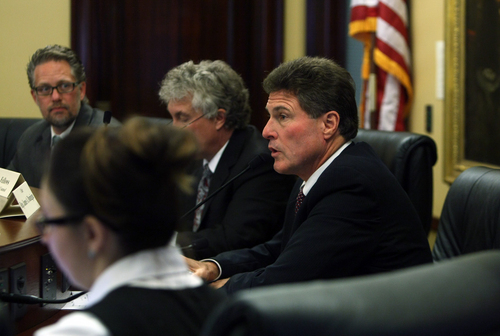 Scott Sommerdorf   |  The Salt Lake Tribune Rep. Jim Dunnigan, R-Taylorsville, chairman of the House investigative committee, announces that there will be future meetings where the committee will lay out for the public and the Legislature what it has learned, Saturday. Dec. 7, 2013.
