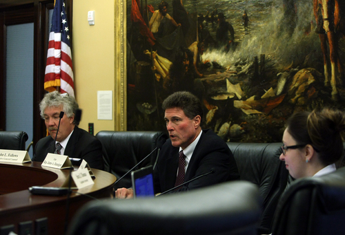 Scott Sommerdorf   |  The Salt Lake Tribune Rep. Jim Dunnigan, R-Taylorsville, chairman of the House investigative committee, announcesthat there will be future meetings where the committee will lay out for the public and the Legislature what it has learned, Saturday, Dec. 7, 2013.