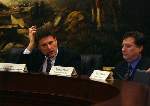 Scott Sommerdorf   |  The Salt Lake Tribune Rep. Jim Dunnigan, R-Taylorsville, chairman of the House investigative committee, announces that the hearing will move into closed session to discuss investigative or legal strategy, Saturday, Dec. 7, 2013.