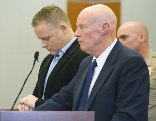 Steve Griffin  |  The Salt Lake Tribune   Chiropractor Brian Babcock, left, bows his head as he and his attorney, James Haskins, listen to Judge Terry L. Christiansen impose sentencing at the 3rd District Courthouse in West Jordan, Utah Monday, December 9, 2013. Babcock was being sentenced for scamming his elderly, vulnerable clients, who he told he could cure their diabetes and thyroid ailments.