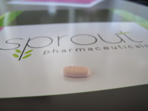 In this Friday, Sept. 27, 2013, photo, a tablet of flibanserin sits on a brochure for Sprout Pharmaceuticals in the company's Raleigh, N.C., headquarters on Friday, Sept. 27, 2013.  Sprout Pharmaceuticals said Wednesday, Dec. 11, 2013, it has reached an impasse with the Food and Drug Administration over its drug, flibanserin. The daily pill is designed to increase libido in women by acting on brain chemicals linked to mood and appetite. (AP Photo/Allen G. Breed)