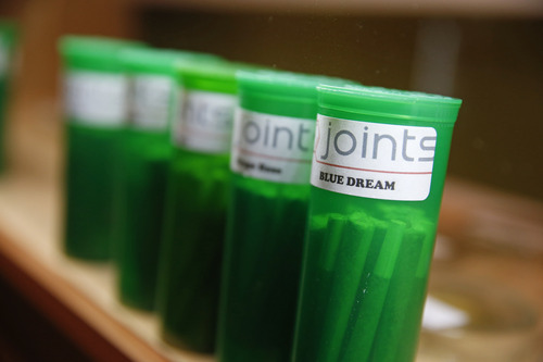 In this Dec. 6, 2013 photo, different strains of marijuana are displayed for sale at The Clinic, a Denver-based dispensary with several outlets, in Denver. The Clinic is among the roughly 150 medical marijuana dispensaries hoping to begin selling to recreational users when it becomes legal to sell on Jan. 1, 2014. The state's hopeful pot shops are so mired in red tape and confusion that no one knows yet when or if they'll be allowed to open. Not a single shop will clear state and local licensing requirements until about Dec. 27. (AP Photo/Brennan Linsley)(AP Photo/Brennan Linsley)