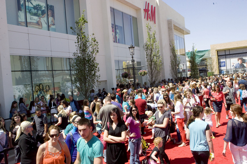 Keith Johnson | The Salt Lake Tribune  Hundreds of people wait in line to shop in the new H&M clothing store at Station Park in Farmington, Utah during the store's grand opening May 23, 2013. The store is the third and largest H&M in Utah.