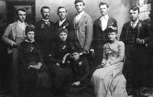 Brigham Young University Pedagogium staff in 1903.  1. Ephraim Gowans, 2. George J. Ramsey, 3. Willard Andlin, 4. Richard R. Lyman, 5. Edward S. Hinckley, 6. Wilfrod W. McKendrick, 7. Mabel Thurman, 8. Ida Alleman, 9. Inez Knight, 10. Mary Lyman. Courtesy Utah State Historical Society