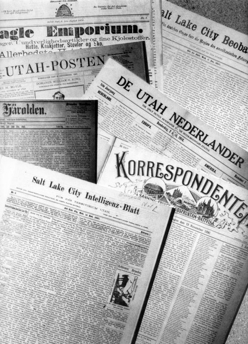 Photo Courtesy Utah State Historical Society  Early newspapers of foreign nationalities in Salt Lake City.