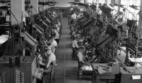 Photo Courtesy Utah State Historical Society  Linotypes at the Salt Lake Tribune office in 1943.