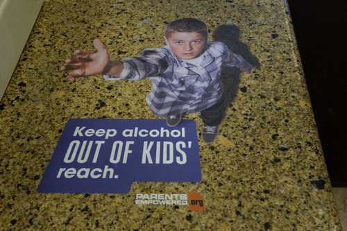 Rick Egan   |  The Salt Lake Tribune  The state is putting up signs in all of the liquor stores to remind parents to keep their underage children away from alcohol.