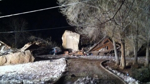 Ladd Egan | Courtesy KUTV 2News A rock slide destroyed a house in Rockville on Thursday. Two people are feared buried in the rubble.